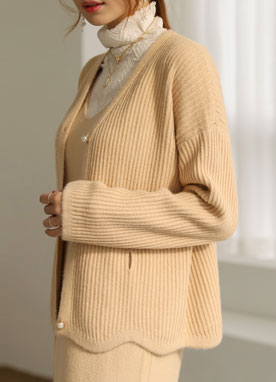 Pearl Button Knit Cardigan & Dress Set, Styleonme