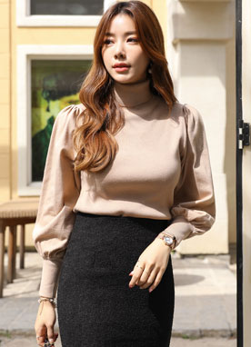 Puff Sleeve Turtleneck Knit Top, Styleonme
