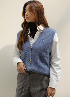 Cable Knit Button-Up Vest, Styleonme
