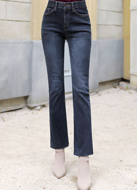 Dark Blue Wash Boot-Cut Jeans, Styleonme