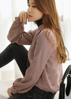 Glen Check Print Ribbon Tie Collared Blouse, Styleonme