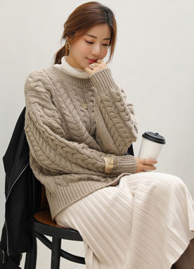 Wool-Blend Cable Knit Sweater, Styleonme