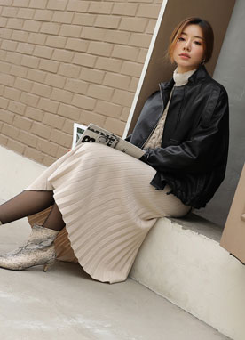 Long Pleated Knit Skirt, Styleonme