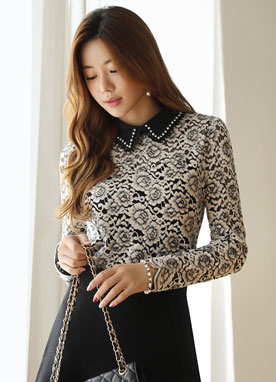 Floral Brushed Lace Collared Blouse, Styleonme