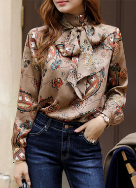 Luxury Carriage Print Scarf Blouse, Styleonme