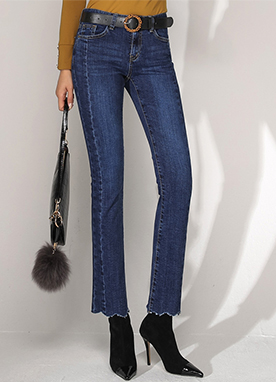 Scallop Hem Front Seam Boot-Cut Jeans, Styleonme