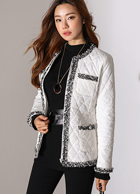 Quilted Zipper Padded Jacket, Styleonme