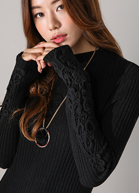 Floral Lace Sleeve Detail Ribbed Knit Top, Styleonme