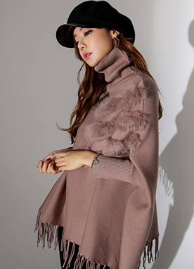 Rabbit Fur Turtleneck Poncho, Styleonme