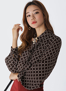Luxury Chain Print Collared Blouse, Styleonme