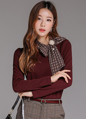 Patterned Scarf Set Long Sleeve Tee, Styleonme