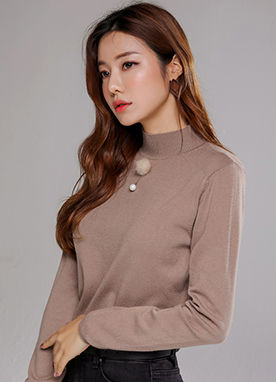 Mock Neck Long Sleeve Knit Tee, Styleonme
