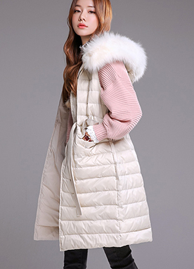 Fox Fur Hooded Long Padded Vest, Styleonme