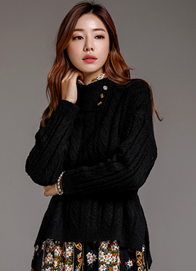 Button Detail Fold Over Turtleneck Knit Sweater, Styleonme