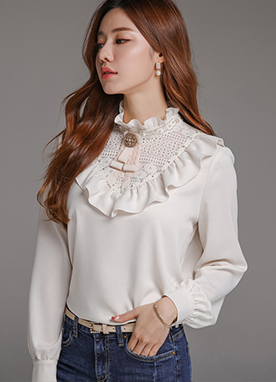 Pearl Accent Floral Lace Ruffle Blouse, Styleonme