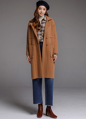 Double-Breasted Knit Coat, Styleonme