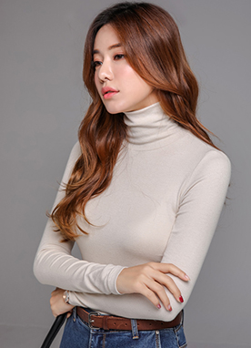 Slim Fit Turtleneck Ribbed Tee, Styleonme