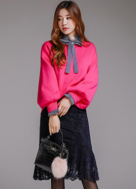 Loose Fit Puff Sleeve Knit Sweater, Styleonme