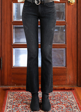 Vintage Black Brushed Boot-Cut Jeans, Styleonme