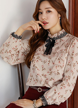 Rose Print Frill Neck Blouse, Styleonme