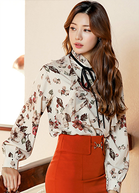 Painted Floral Print Ribbon Tie Frill Blouse, Styleonme