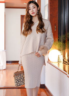 Wool-Blend Cable Knit Two Piece Set, Styleonme