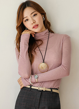 Sheer Turtleneck Long Sleeve Tee, Styleonme