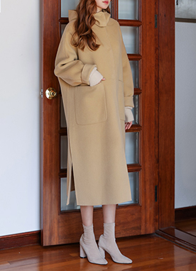 Hooded Handmade Long Wool Coat, Styleonme