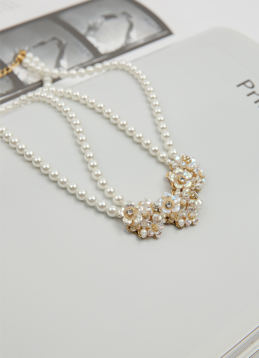 Flower Pendant Pearl Necklace, Styleonme