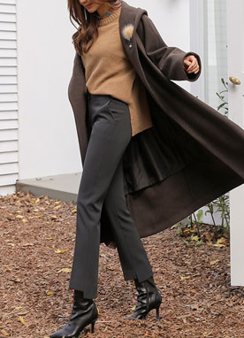 Step Hem Brushed Lining Straight Leg Slacks, Styleonme