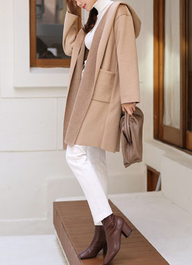 Shawl Collar Wool-Blend Hooded Coat, Styleonme