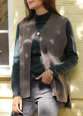 Zip-Up Knit Vest, Styleonme