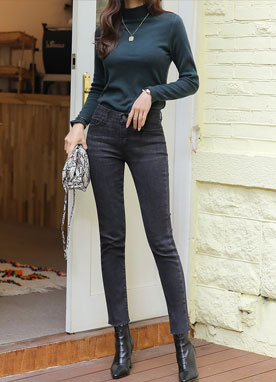 Dark Gray Brushed Straight Leg Jeans, Styleonme