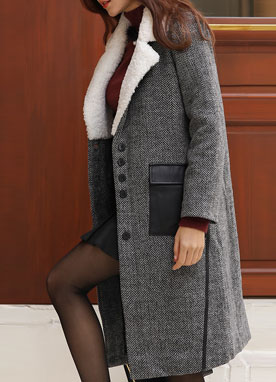 Herringbone Leather Pocket Wool Coat, Styleonme