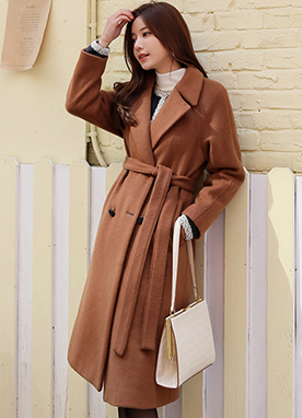 Wool-Blend Waist Tie Double-Breasted Coat, Styleonme
