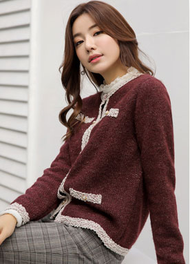 Pearl Button Tweed Cardigan, Styleonme