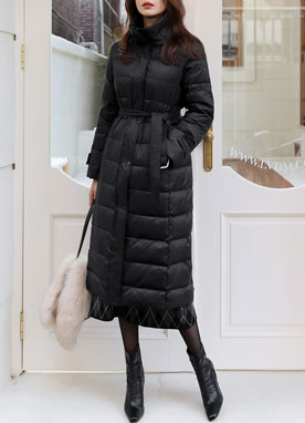 Down Belted Long Padded Coat, Styleonme