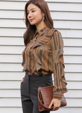 Dots & Stripes Frill Collared Blouse, Styleonme