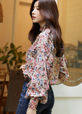 Floral Print Ribbon Frill Blouse, Styleonme