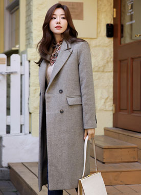 Soft Classic Double-Breasted Coat, Styleonme