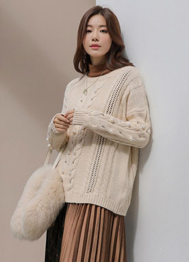 Pearl Accent Wool-Blend Cable Knit Sweater, Styleonme