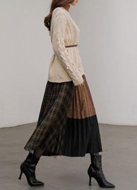 Mix Check Print Suede Pleated Long Skirt, Styleonme