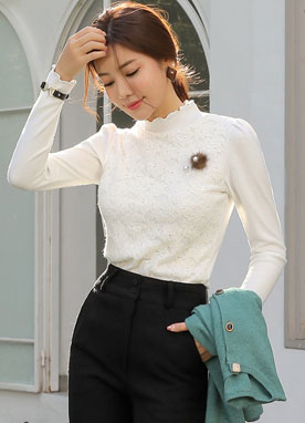Floral Lace Frill Neck Puff Sleeve Blouse, Styleonme