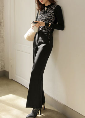 Side Lettering Wide Leg Slacks, Styleonme