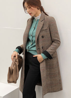 Check Print Double-Breated Wool-Blend Tailored Coat, Styleonme