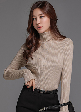 Hotfix Rhinestone Detail Turtleneck Knit Top, Styleonme