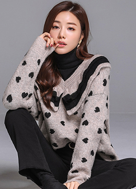 Heart Patterned Frill V-Neck Knit Sweater, Styleonme