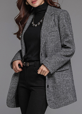 Herringbone Quilted Tailored Jacket, Styleonme