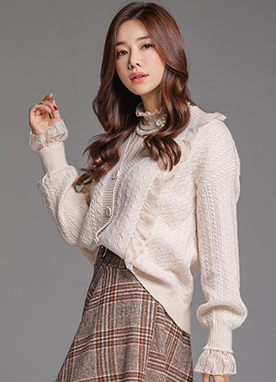 Lace Trim V-Neck Cable Knit Cardigan, Styleonme