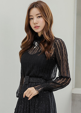 See-through Lace Blouse, Styleonme